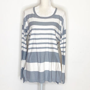 Vince Striped Lightweight Cotton Pullover Sweater